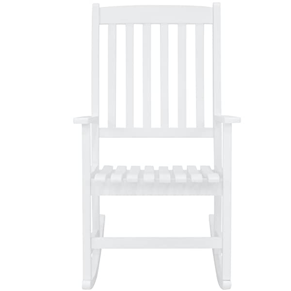 Best Choice Products Indoor Outdoor Traditional Slat Wood Rocking Chair Furniture for Patio, Porch, Living Room - White