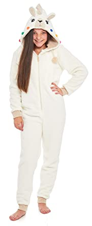 7d3ff6b70f4d0 Slumber Hut® Girls Llama Onesie Fleece Luxury Snuggle Warm Novelty Face Childrens  All in One