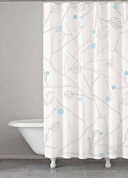 Kassatex Bluegrey Poppy Shower Curtain Gray