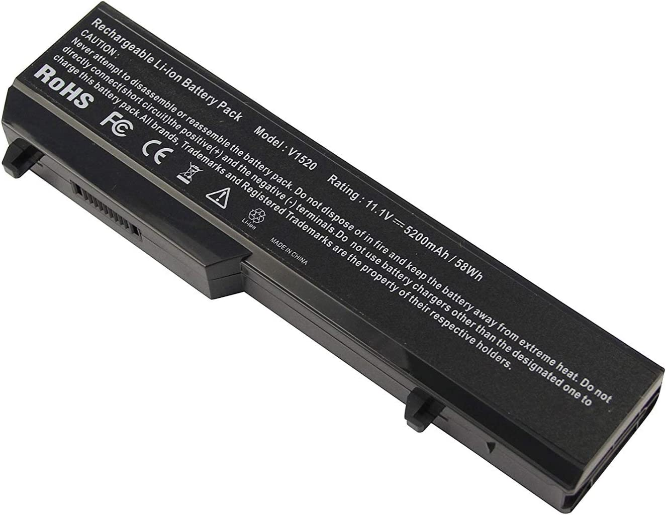 Battery for Dell Vostro 1320 1310 1510 1520 2510 PP36s PP36l Series, Fits P/n K738h T112c T114c T116c U661h N958 312-0725 312-0922 N956C 5200 mAh 58 WH 11.1V 6 Cell