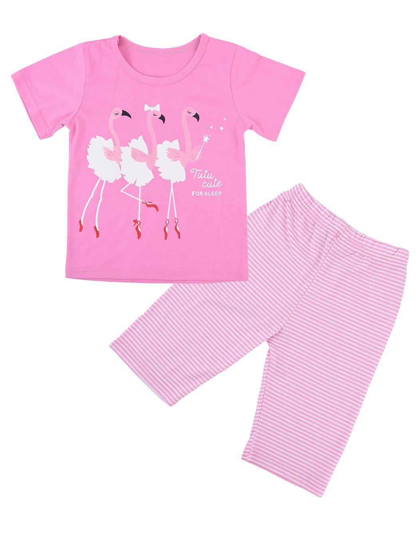 Toddler Girls Pajama Cute Flamingos Pattern Nighty Comfy Shorts Cotton Sleepwear 4t