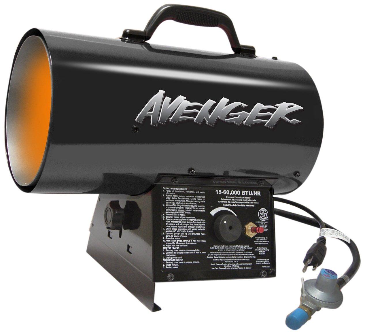 Avenger FBDFA60V Portable Forced Air Propane Heater, 60000 Btu