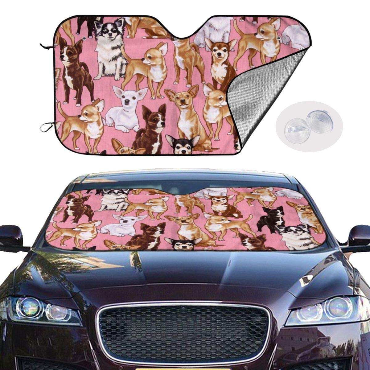 51 X 27.5 Keeps Vehicle Cool Kejbr Chiwawas Dog Pink Frontscheibe Sonnenschutz for Car Foldable UV Ray Reflector Auto Front Window Sun Shade Visor Shield Cover