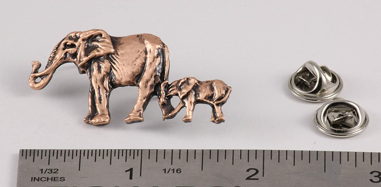 Jewelry M091B Elephant with Baby Mammal Pewter Lapel Pin Brooch