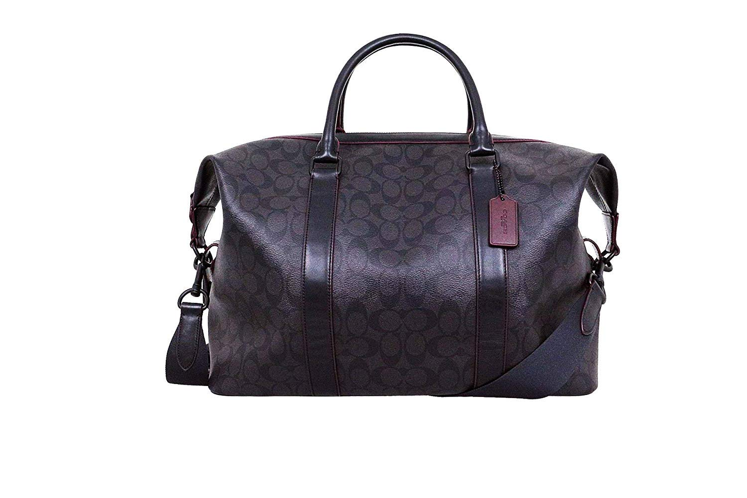 COACH DUFFEL VOYAGER BAG IN SIGNATURE CANVAS F23207 BLACK/OXBLOOD