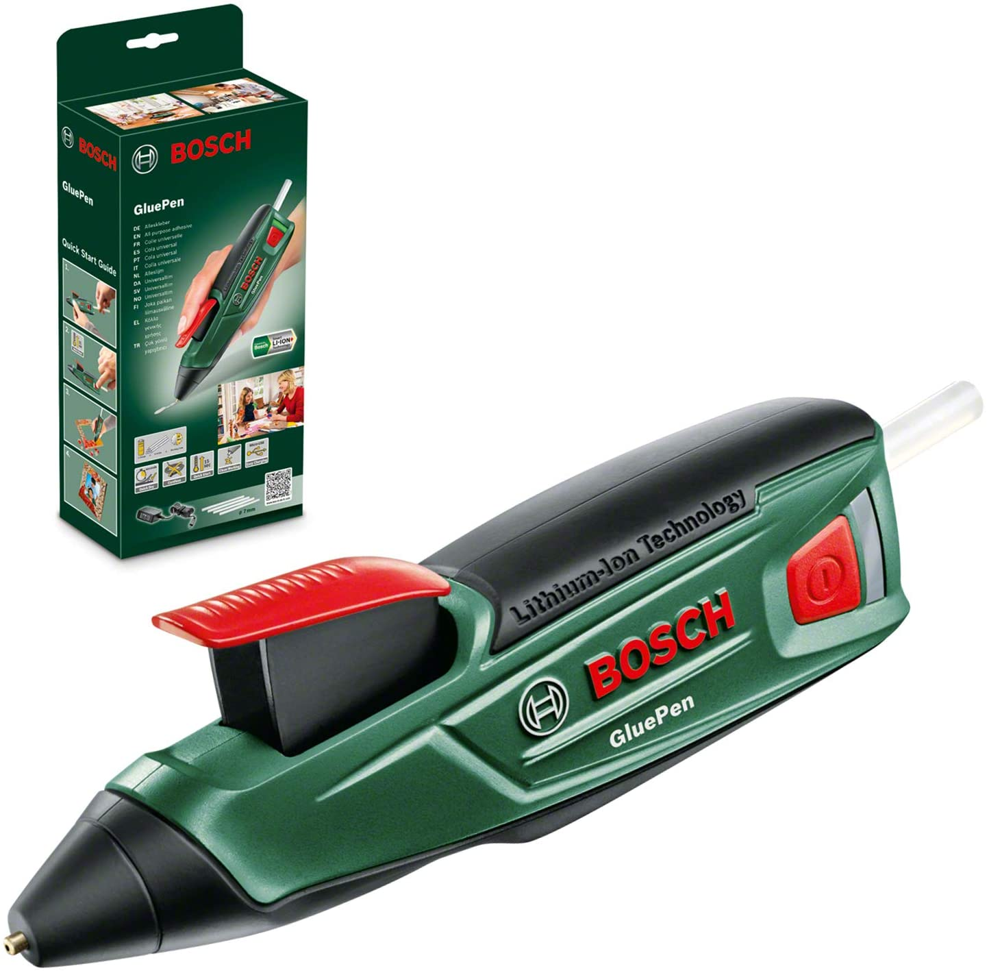 Bosch GluePen - Pistola de pegar a batería (cargador microUSB, 4 uds. de adhesivo Ultrapower, caja de cartón, 3,6V)