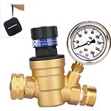 Measureman Handle Adjustable Brass Lead-Free RV Pressure Regulator, Pressure Reducer With Liquid Filled Pressure Gauge…