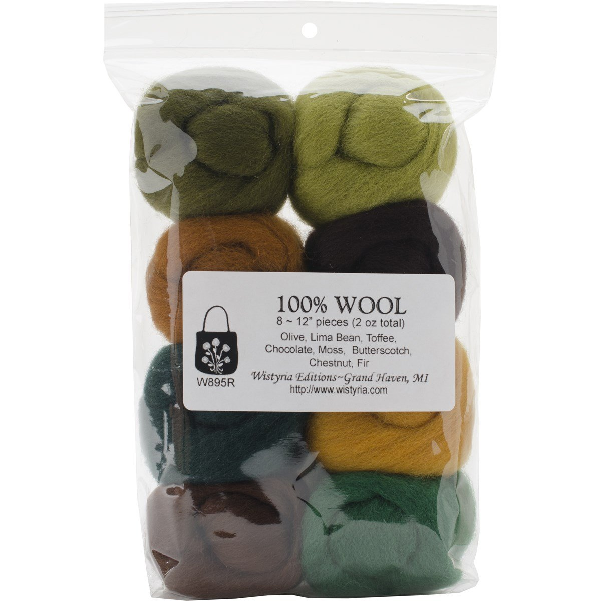 Wistyria Editions Ultra Fine 12'' Wool Roving .22 Oz. 8-Pack: Woodsy