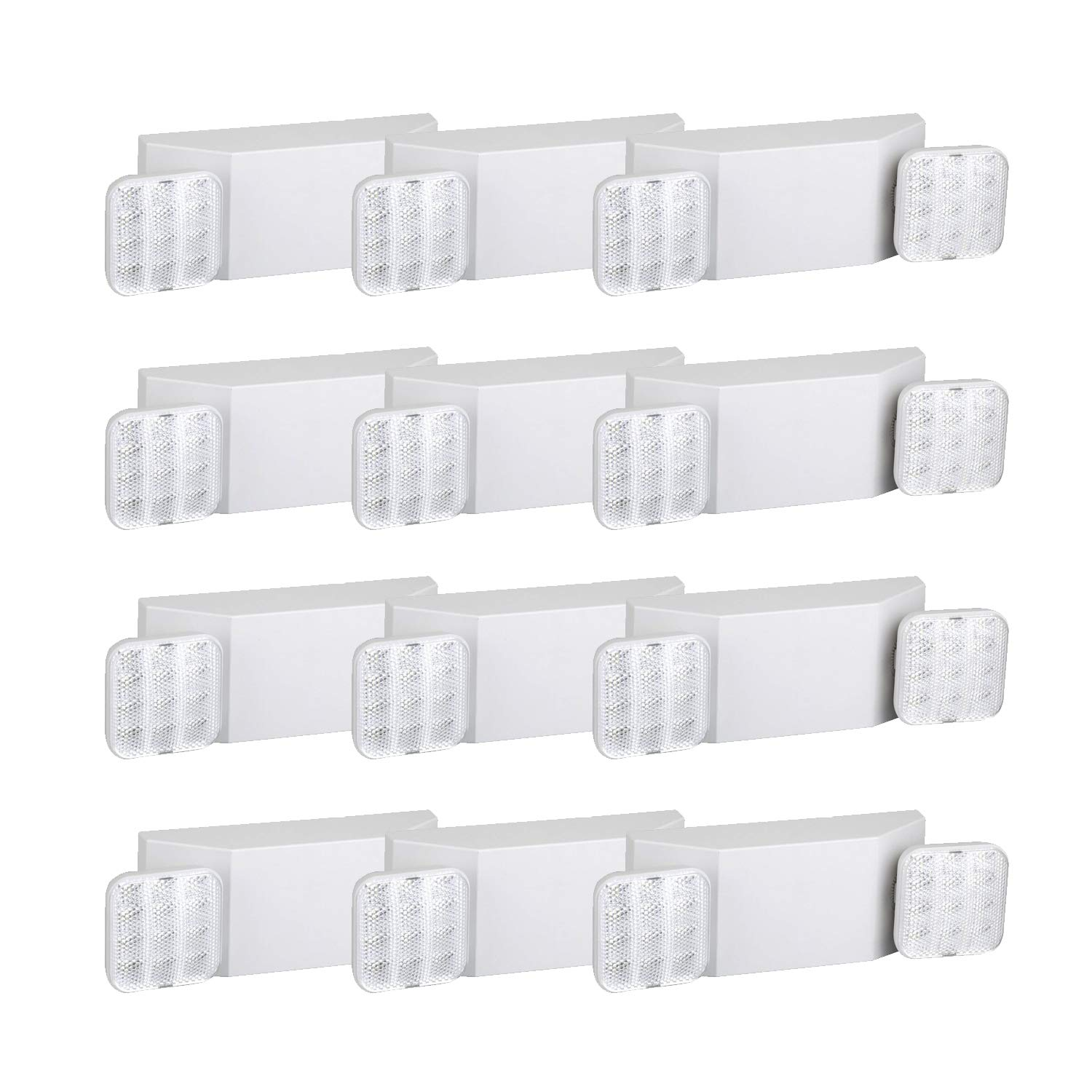 HYD-Parts 12 Packs Two Head Emergency Light - UL Certified - Hardwired LED Fire Emergency Lighting (Square)
