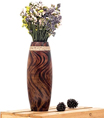 Leewadee Small Floor Standing Vase For Home Decor Centerpiece Table Vase 15x41 Cm Mango Wood Brown Amazon Co Uk Kitchen Home