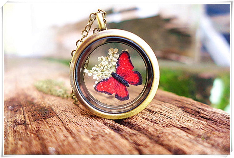 Rojo Mariposa Colgante, collar de flores secas Locket, joyas de insectos Bug joyas bosque jardín botánico de joyas regalos para jardineros