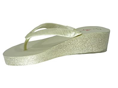 Amazon.com | Champagne, Ivory or White Glitter Wedge Flip Flops ...