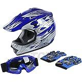 TCMT DOT Youth Blue Flame Dirt Bike ATV MX Motocross Helmet Goggles+gloves L