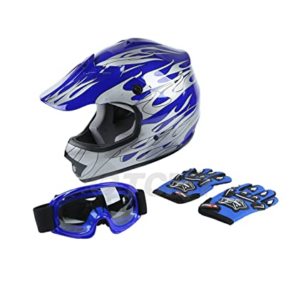 TCMT DOT Youth Blue Flame Dirt Bike ATV MX Motocross Helmet Goggles+gloves XL