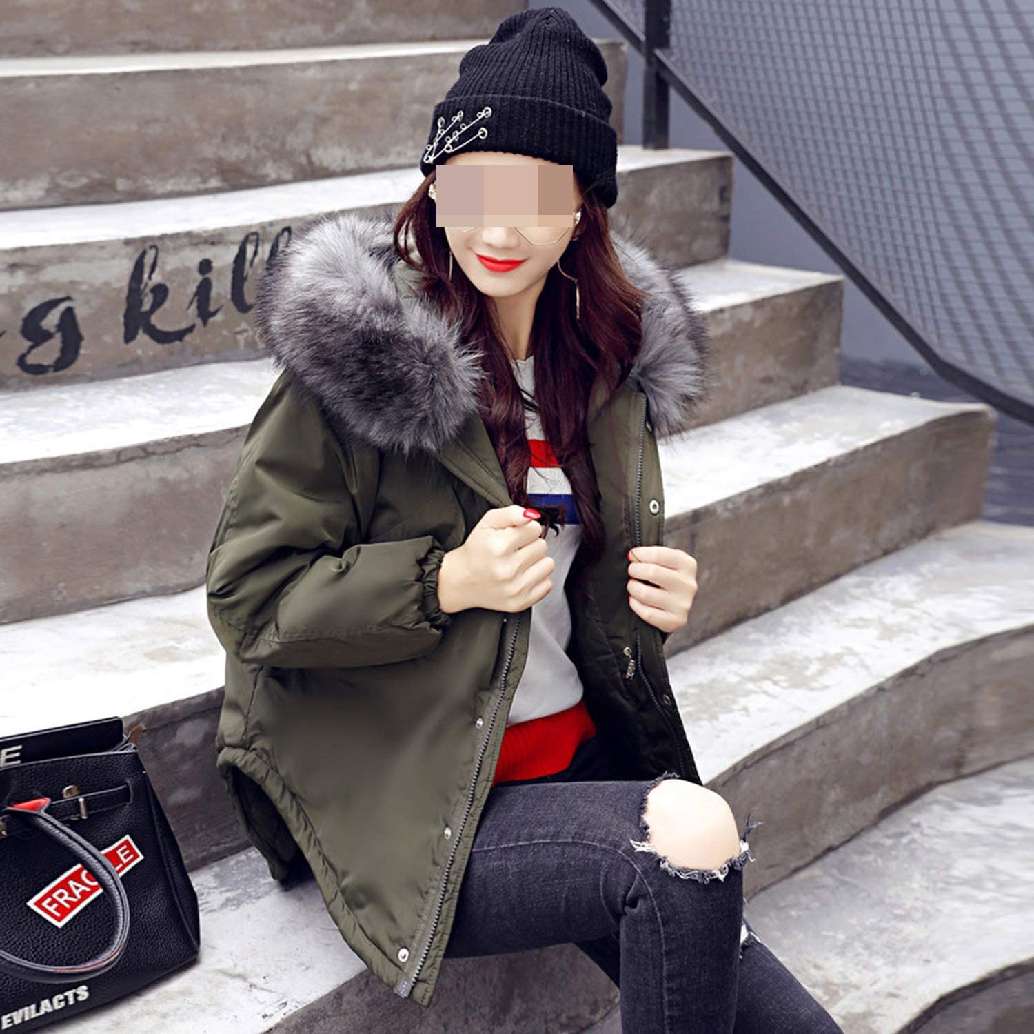 Women Winter Jacket Coat Big F-ur Collar Hood Cotton Warm Short Zipper Jackets Outwear