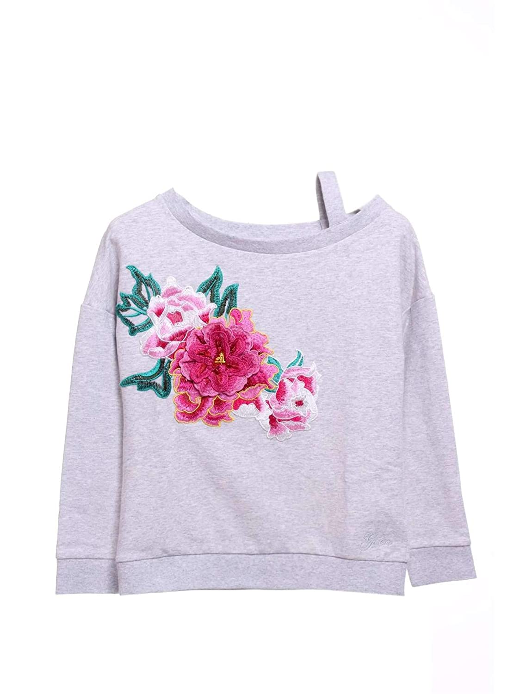 Guess Sweat Fille A83g02 Fleece Gris Motifs Fleur