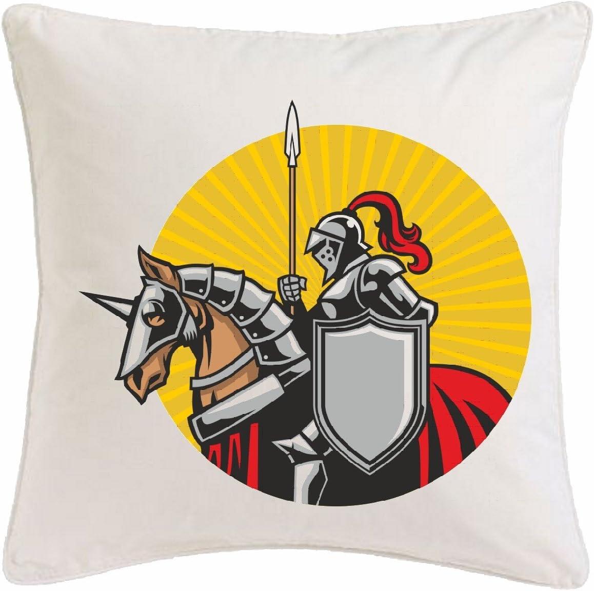 Reifen-Markt Funda de Almohada 40x40cm Logotipo del Caballero con EL Caballo KNIGHTSWORD Knight Knight Armour Ritterburg Casco Protector Microfibra en Color Blanco