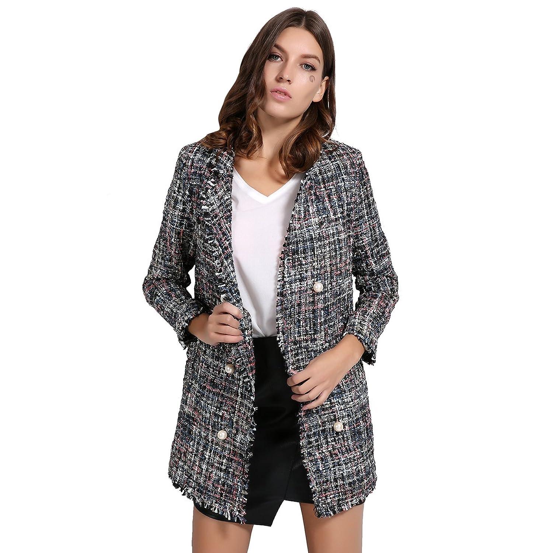 GCAROL Women's Open Front Tweed Blazer Jackets Coats