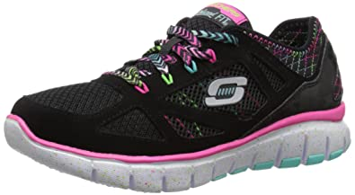 Skechers Kids S-Flex-Fashion Play Running Shoe,Black/Multi,10.5
