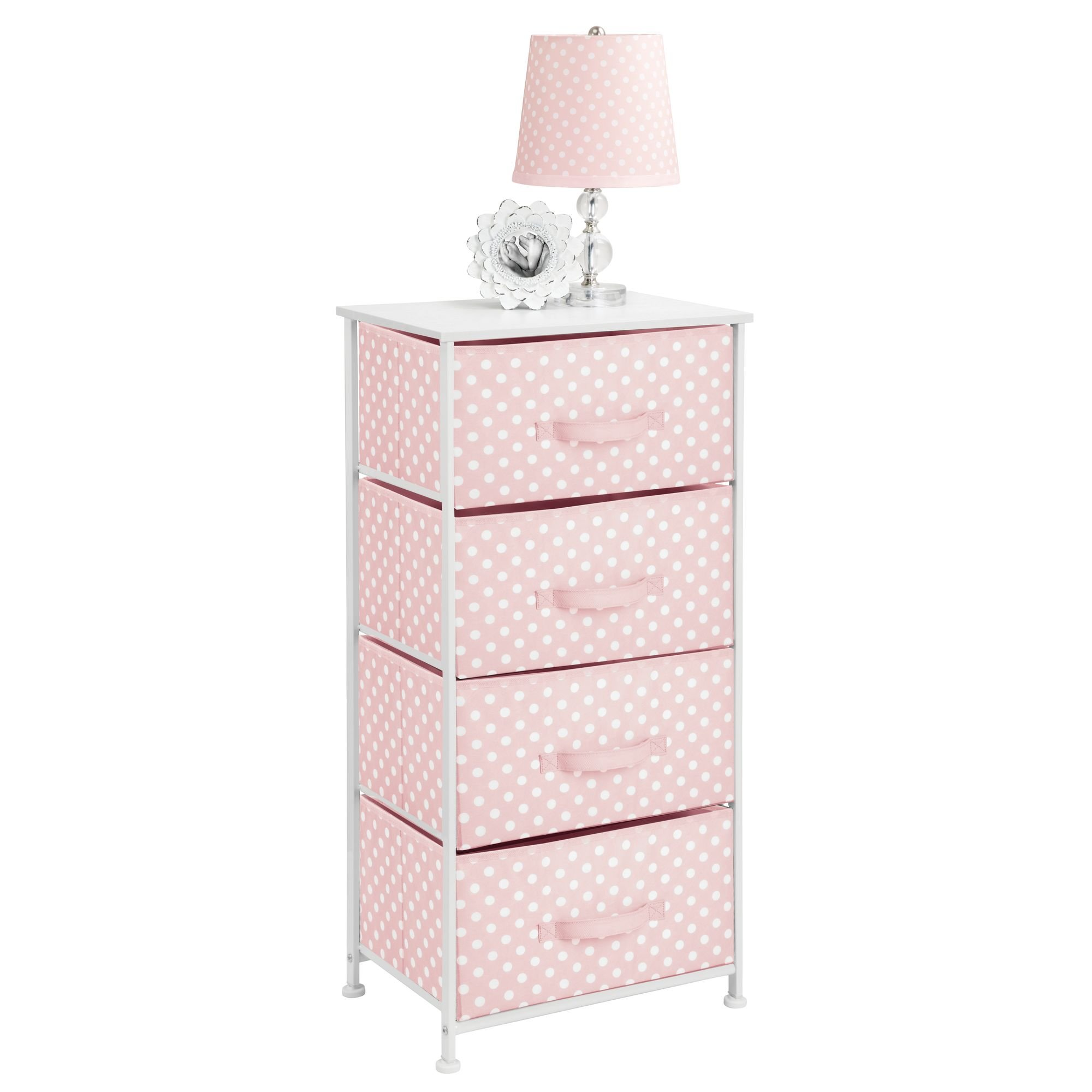 mDesign 4-Drawer Vertical Dresser Storage Tower - Sturdy Steel Frame, Wood Top and Easy Pull Fabric Bins - Multi-Bin Organizer Unit for Child/Kids Bedroom or Nursery - Light Pink with White Polka Dots