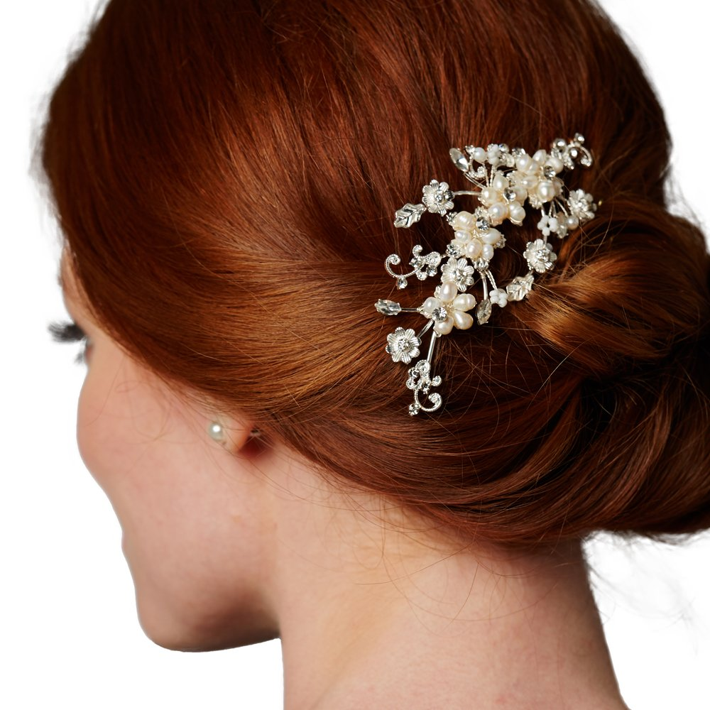 Mariell Romantic Freshwater Pearl and Crystal Bridal Comb - Light Silver Designer Wedding Headpiece by Mariell (Image #1)