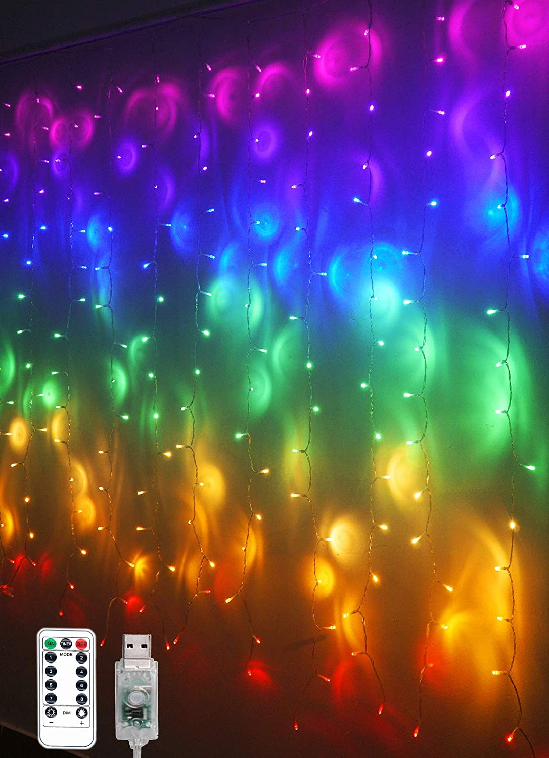 Rainbow Fairy String Curtain Lights with Remote, Twinkle LED Icicle Rainbow Lights Curtain for Girls Room, Bedroom, Teen Room, Kids Room, Unicorn Room, Party, Holiday Décor (Rainbow)