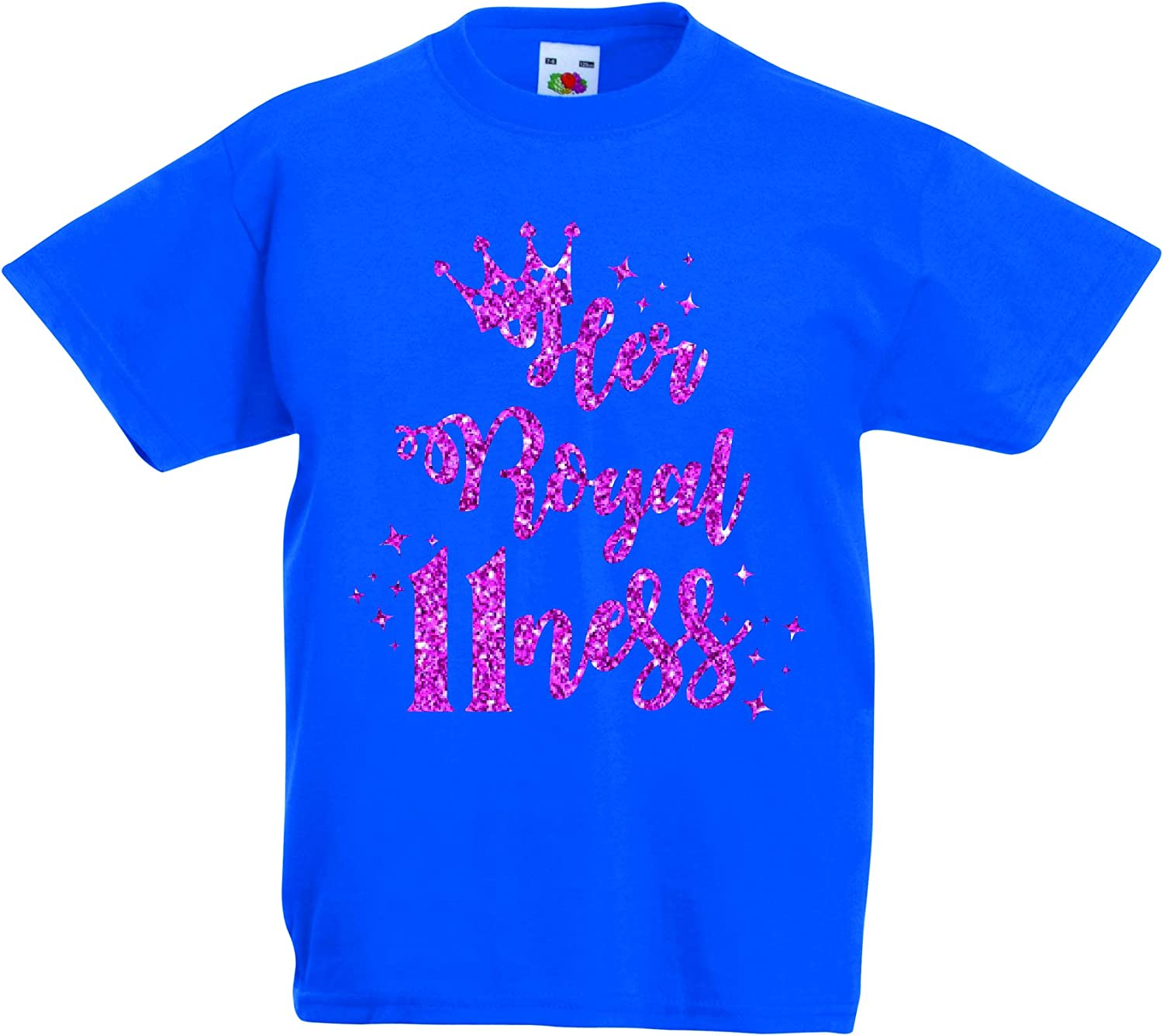 11 Today 11th Birthday T-Shirt Pink Glitter Her Royal 11ness Party T Shirt Girls Tee Kids Age 9-11 and Age 12-13