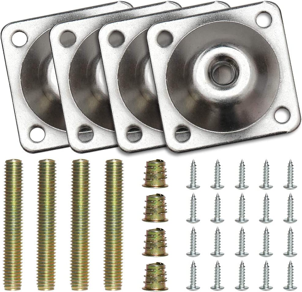 Flat Leg Mounting Plates 4 Sets M8 Sofa Table Leg Attachment with Screws Bolts