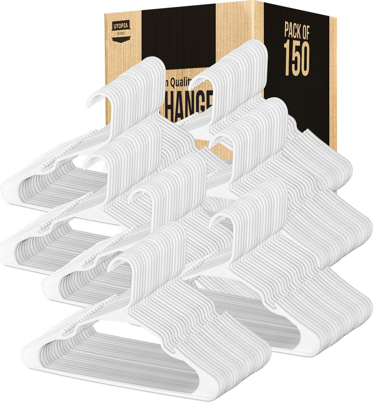Utopia Home [White,150-Pack] Plastic Hangers for Clothes Space Saving Notched Hangers
