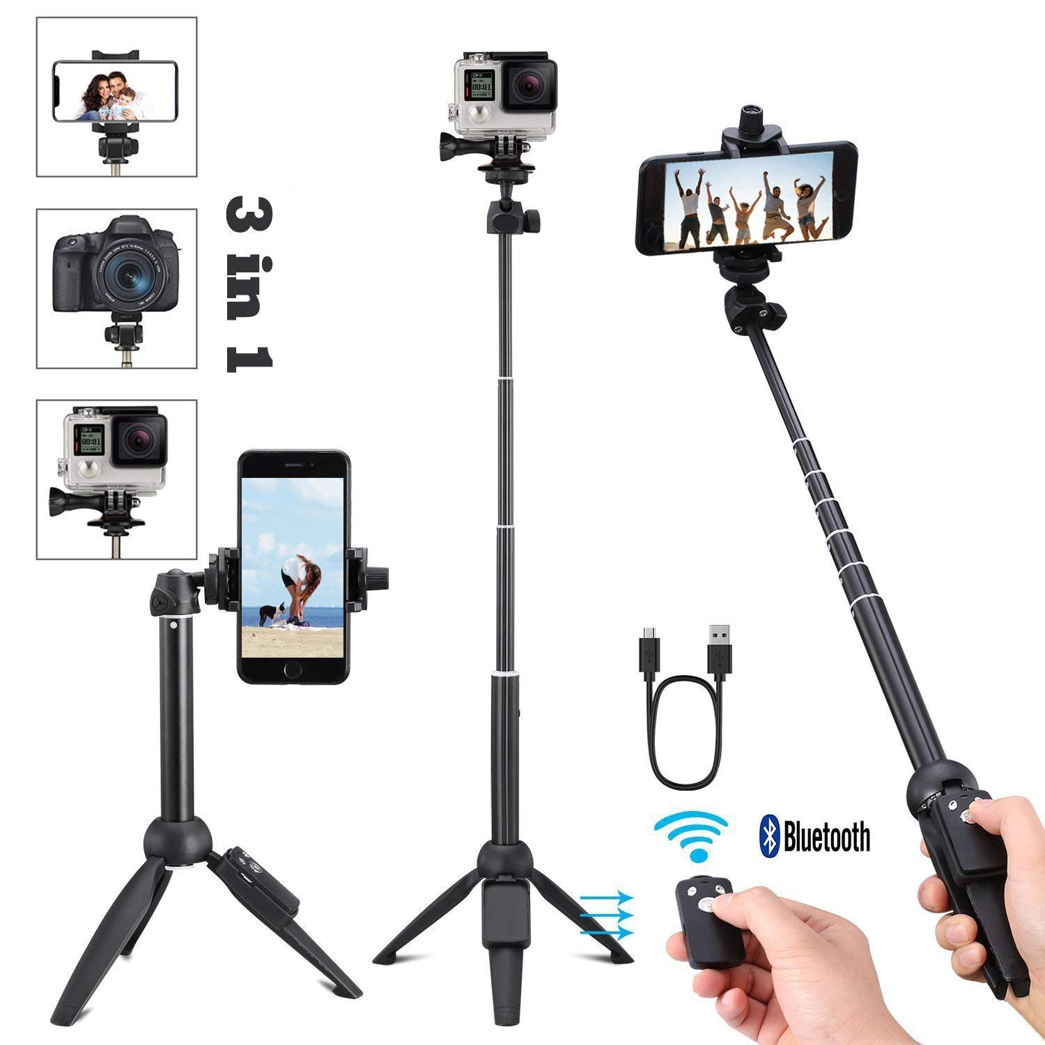40 Inch 3 in 1 Portable Aluminum Alloy Selfie Stick Bluetooth, Extendable Selfie Stick Tripod with Wireless Remote Control for iPhone 6 7 8 X Plus, Samsung Galaxy S9 Note8, Gopro,Digital cameras