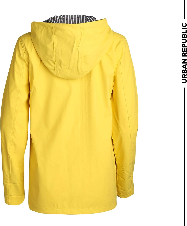 Large Urban Republic Womens Lightweight Vinyl Hooded Raincoat Jacket Soft Yellow