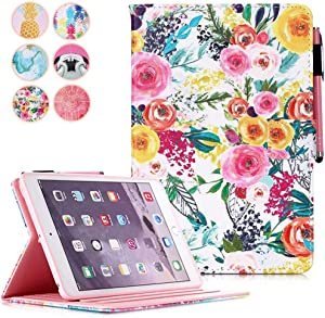 MonsDirect iPad 8th Generation 10.2 inch Case, 7th Generation 2019 Case, Smart Sleep Wake Stand Case with Pencil Holder Slim Protective Cover for iPad 10.2/2019 Air 3, Painting Flower