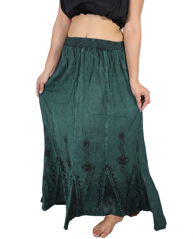 Dancers World Ltd (UK Seller) Medieval Gypsy Boho Renaissance Embroidered Flared Stonewash Skirt