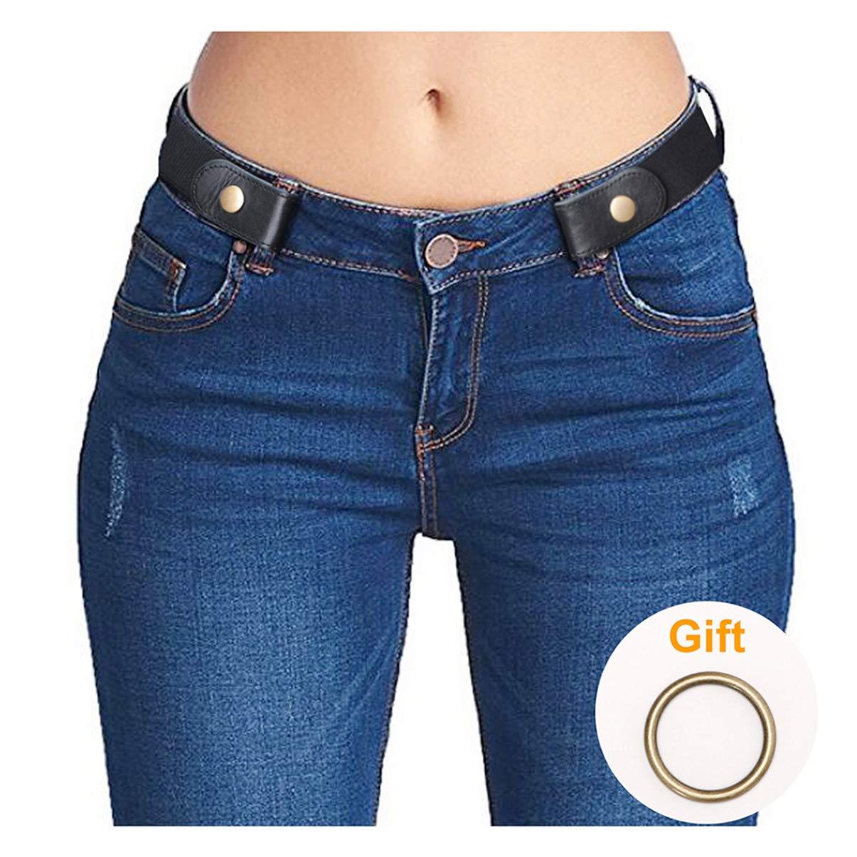 Women Belt Black No Buckle Belt for Jeans,Invisible Belts for Women Plus Size