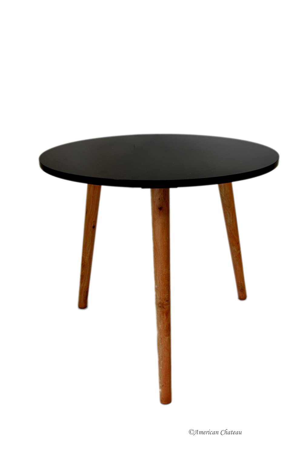Retro Mid Century Modern Danish-Style Black Wood & Melamine Accent Side Table American Chateau