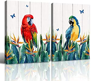 """Purple Verbena Art Nature Landscape Season View Scene Painting Wall Art Flowers Birds Picture Canvas Print Artwork for Home Living Room Bathroom Bedroom Wall Décor Framed (Parrot-2, 2 PCS of 12""""x16"""")"""