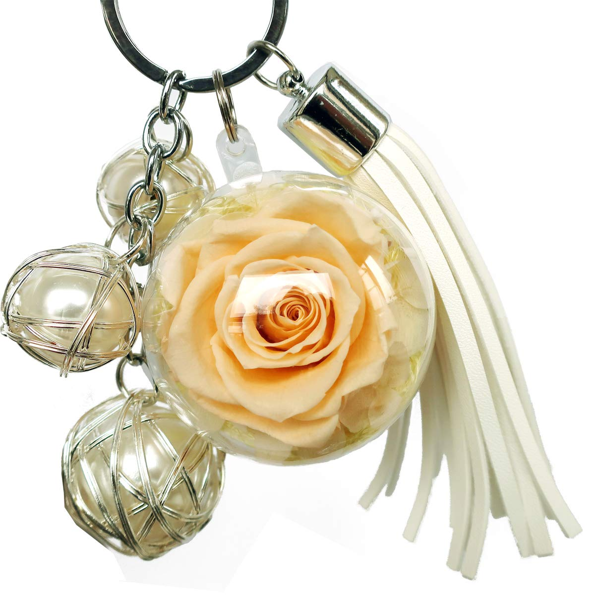 preserved real rose in a acrylic ball,with 3 pearls and Tassels and Key chain,a Decor for handbag, a perfect Gift for Sister, Girls, Mother's Day, Valentine's Day, Anniversary, Birthday (yellow)