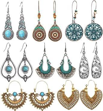 8 Pairs Vintage Drop Dangle Earrings for Women Girls Long Bohemian Earrings Set Boho Jewelry