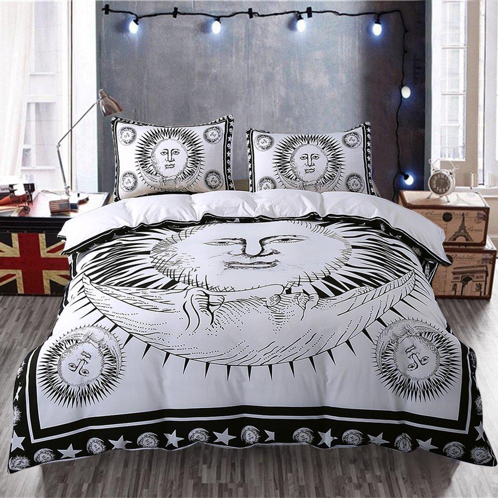 duvet comforter cover pin celestial moon bedding sun boho stars and lightweight bohemian design