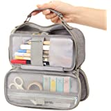 EASTHILL Big Capacity Pencil Case Stationery Storage Large Handheld Pen Pouch Bag Multiple Compartments Double Zipper Portabl
