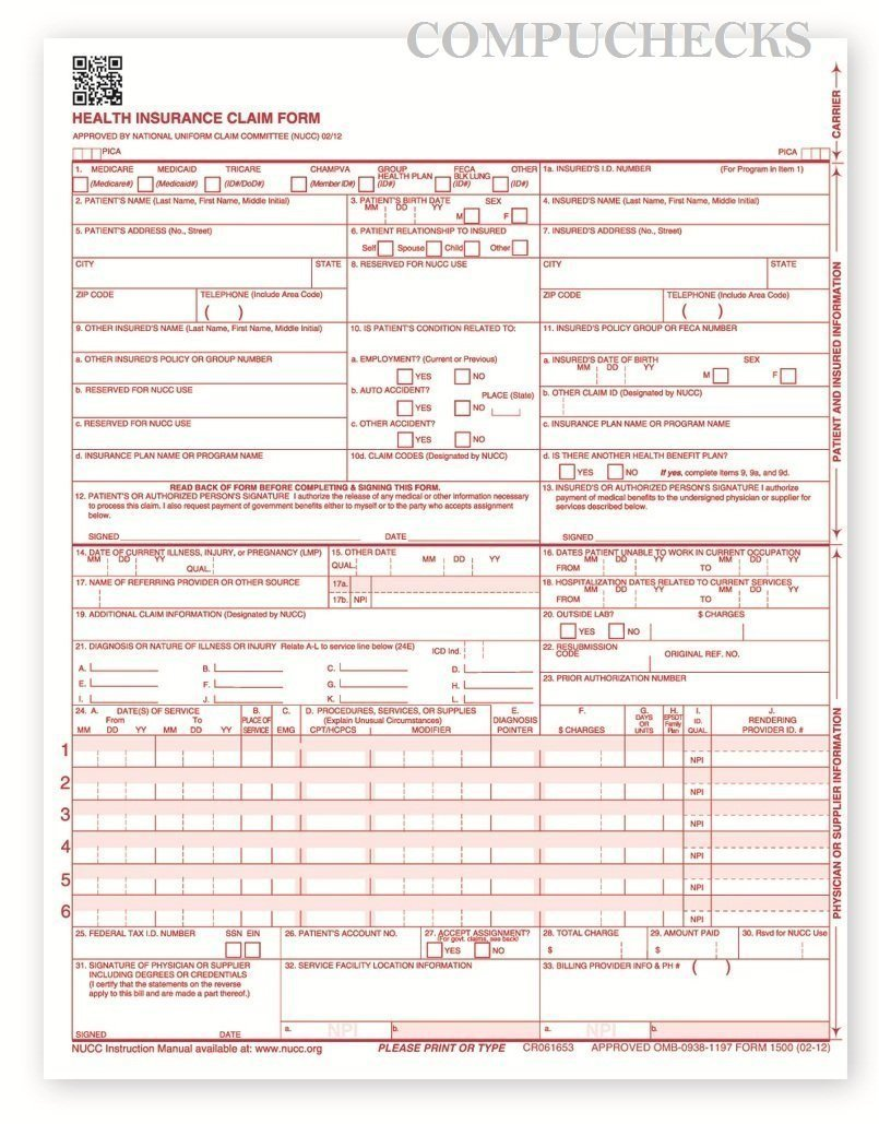 CMS-1500 Laser Printer Medical Claims Form - 1,000 sheets by Formsandchecks