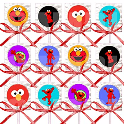 Elmo Lollipops Party Favors Supplies Decorations Suckers with Red Ribbon Bows Party Favors -12 pcs Tickle Me Elmo: Health & Personal Care