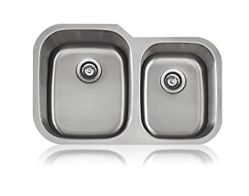 15-1//2 and 12-3//4-Inch Bowls Lenova Sinks Lenova SS-CL-D2L 18-Gauge Stainless Steel Classic Unequal Double Bowl Under-Mount Kitchen Sink