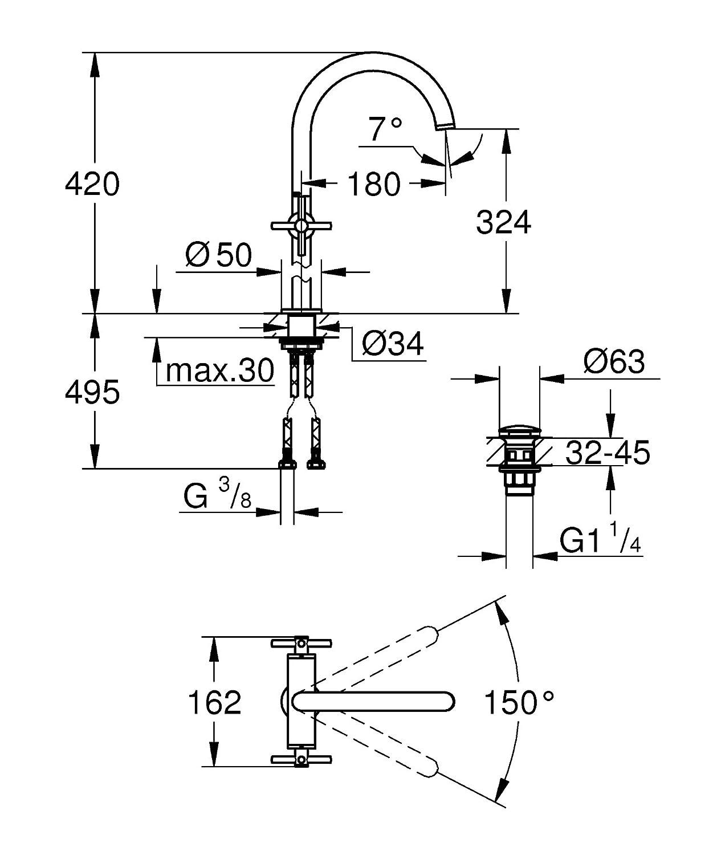hard graphite geb/ürstet Waschtisch-Einlochbatterie DN 15 L-Size GROHE Atrio Badarmatur 21019AL3
