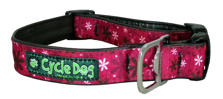 Medium Cycle Dog Bottle Opener Recycled Dog Collar, Hot, Pink Retro Flowers, Medium