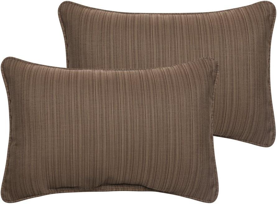 Mozaic AZPS6887 Indoor Outdoor Sunbrella Lumbar Pillows with Corded Edges, Set of 2 12 x 18 Textured Brown