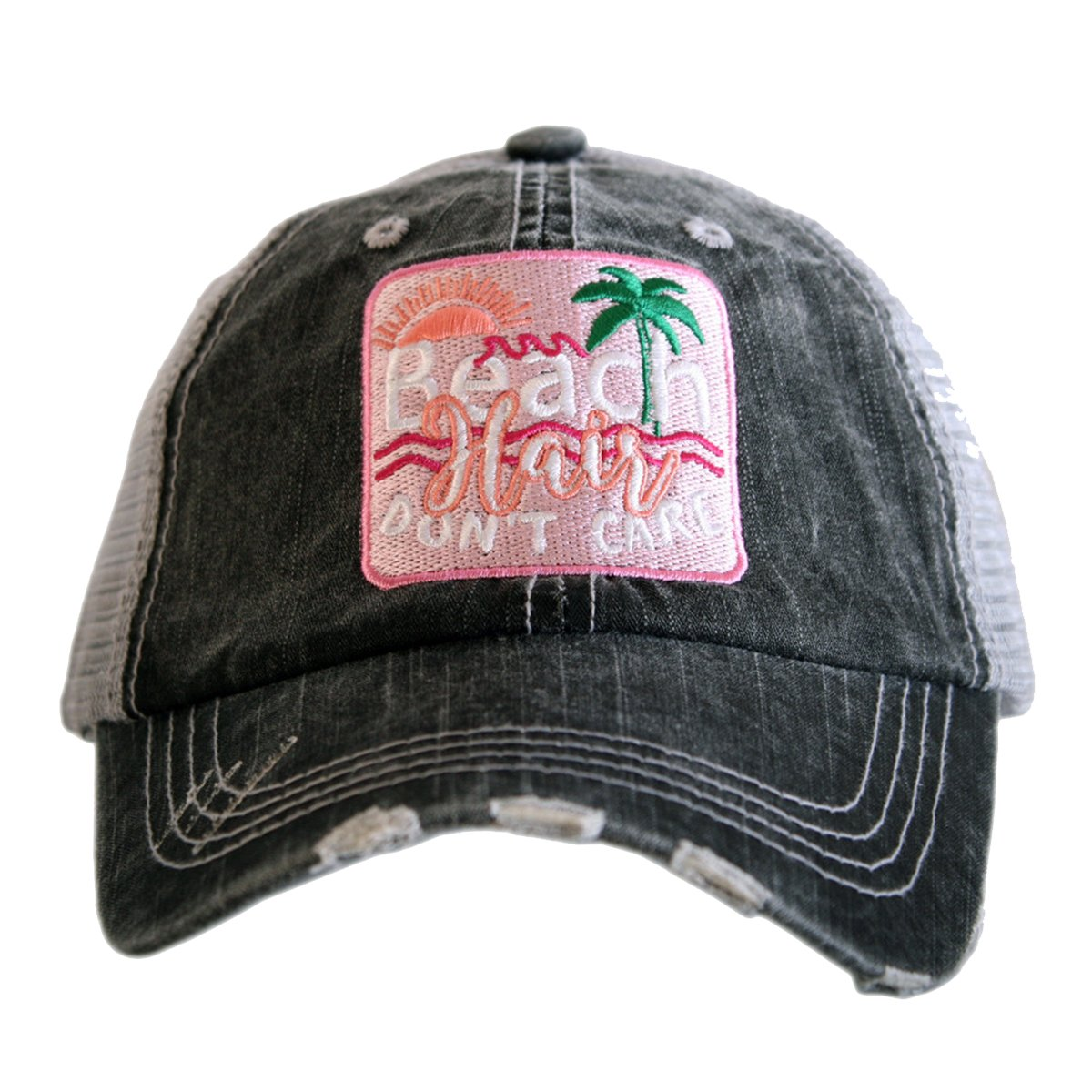 Katydid Beach Hair Don't Care Palm Patch Women's Trucker Hat