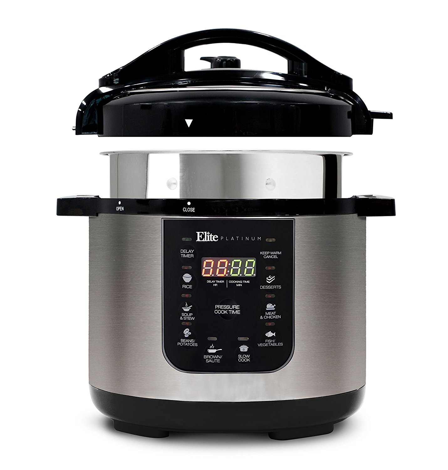 Elite Platinum EPC-686 Electric Pressure Cooker – 9-in-1 with 6 Qt. Tri-ply Stainless Steel Inner Pot, Slow Cooker, Sauté