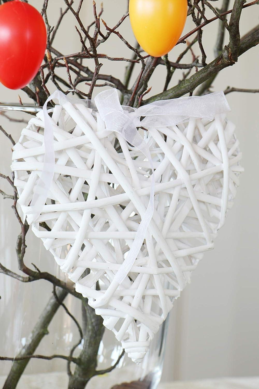 preciosos corazones de madera de ratan blancos para decoracion