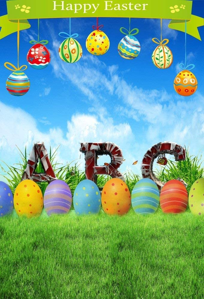 6x8ft Polyester Photography Backdrop Art Easter Eggs Hanging on Tree Flowerpot Rabbit Nest Scene Photo Background Children Baby Adults Portraits Backdrop